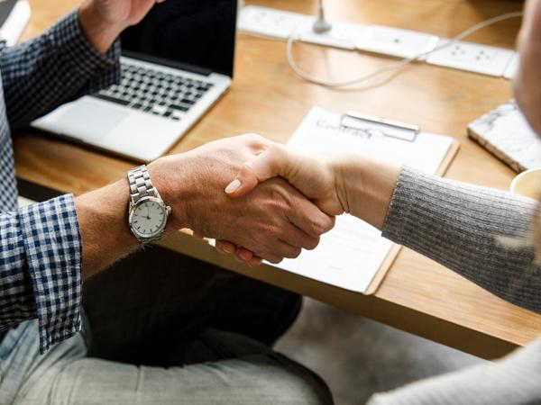 Meeting Customer with Handshake